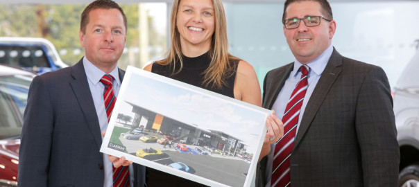 Shelbourne Motors announcing plans for a new £5m multi-franchise complex in Newry as the family-owned vehicle retailer celebrates its 45th Anniversary. The new state-of-the-art facility will create 60 new jobs when it officially opens in early 2019 with an additional 100 jobs during construction.   The 50,000 sq ft development includes four new car showrooms, new car handover bays, a lounge-style waiting area with cafe, used vehicle spaces and customer car parking spaces. It will also have Northern Irelands first drive-thru service centre with a 28-bay service workshop.   Pictured unveiling the new plans is (L-R): Richard Ward, Sales Director; Caroline Willis, Finance Director (centre) and Paul Ward, Sales Director.